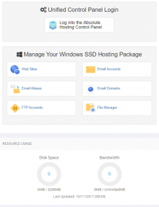 windows hosting control panel overview