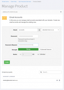 windows hosting control panel manage email accounts