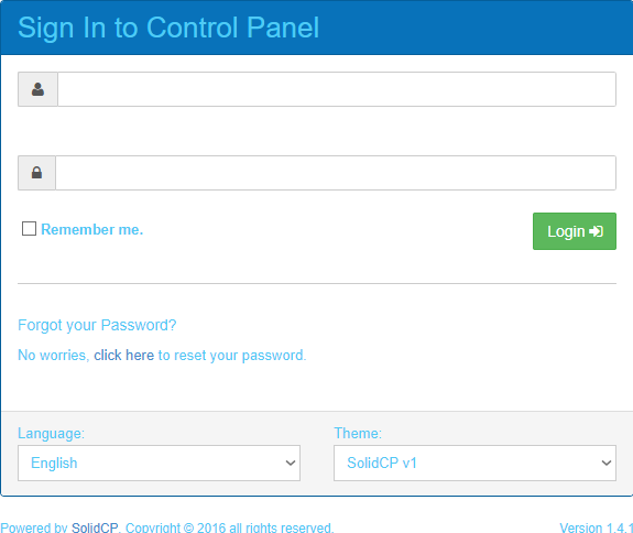 Solid control panel login