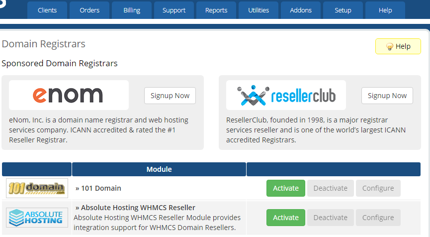 Install the Absolute Hosting WHMCS Registrar Domains