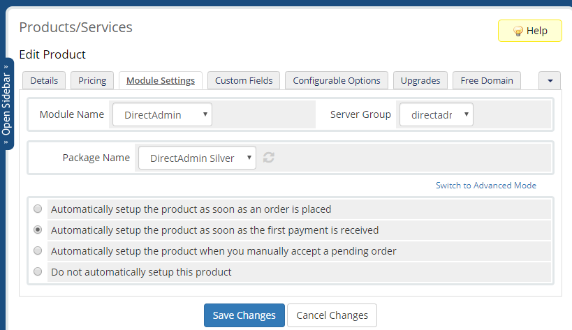 absolutehosting.co.za whmcs directadmin module package settings