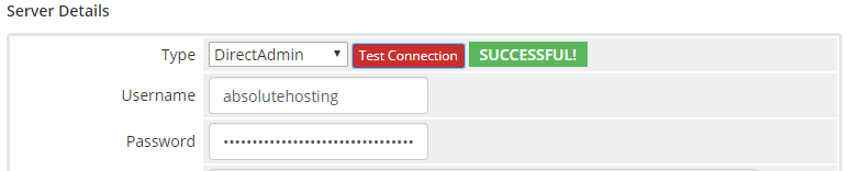 absolutehosting.co.za whmcs test directadmin server connection test
