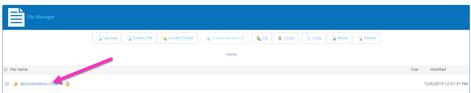 absolutehosting.co.za solid control panel file manager
