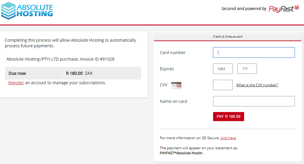 absolutehosting.co.za complete payfast automatic payments
