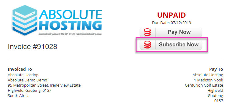 absolutehosting.co.za subscribe to payfast automatic payments