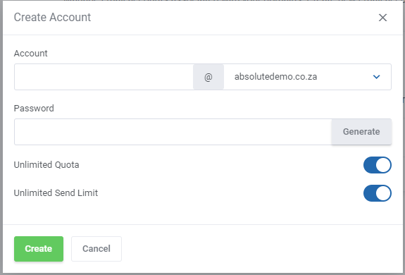 Create new email only hosting account with limits