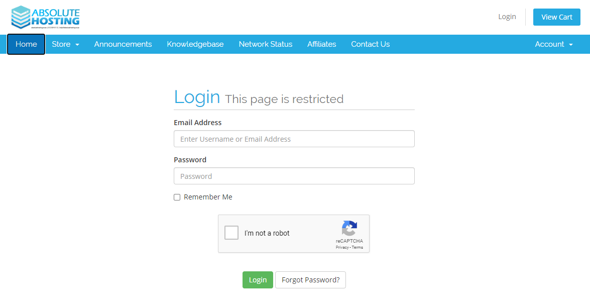 Absolute Hosting Client Services Area Login