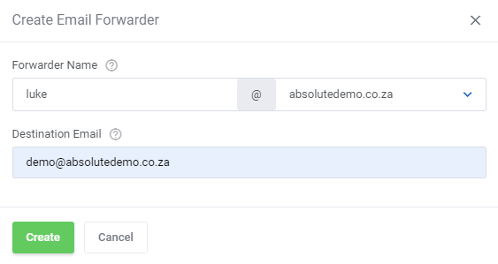 absolutehosting.co.za - email forwarder details
