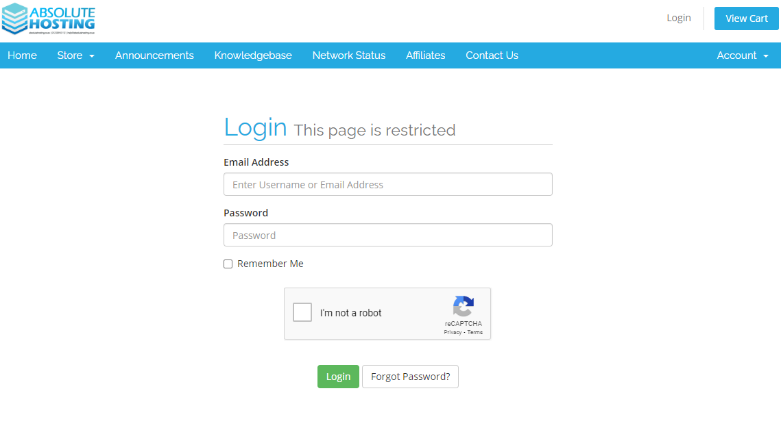 client service area login - absolutehosting.co.za